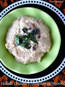 make radish chutney (mullangi/mooli)