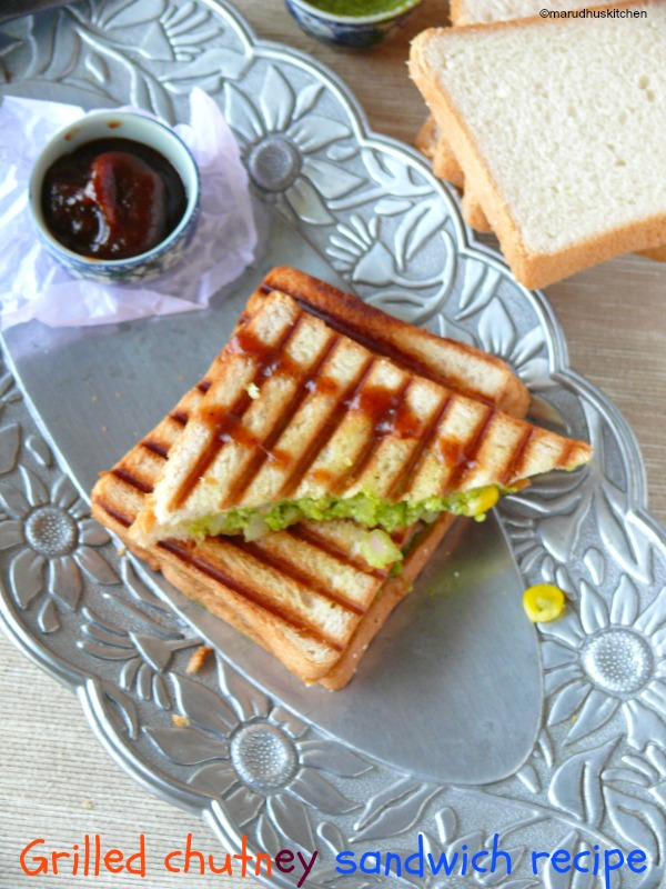 chutney sandwich recipe indian (grilled)with veggies